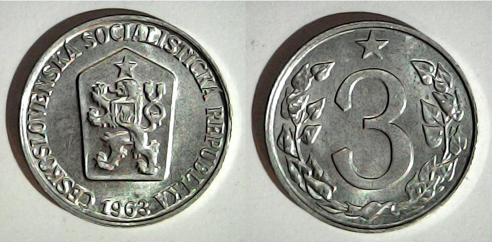 3 haléře 1963 Tchécoslovaquie