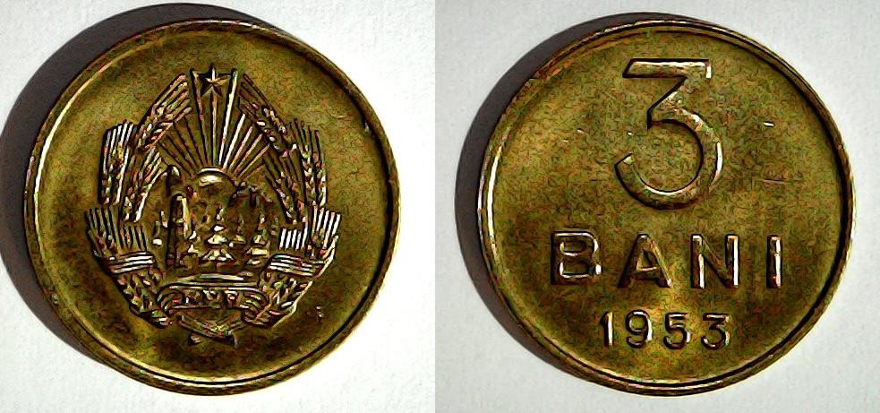 3 bani 1953 Roumanie
