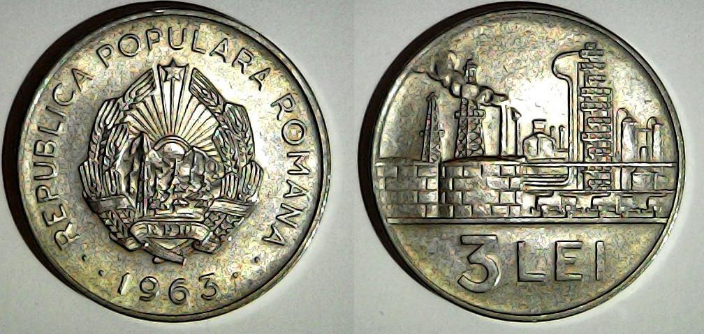 3 lei 1963 Roumanie