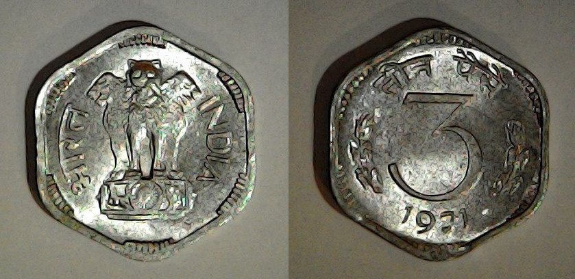 3 paise 1971 Inde