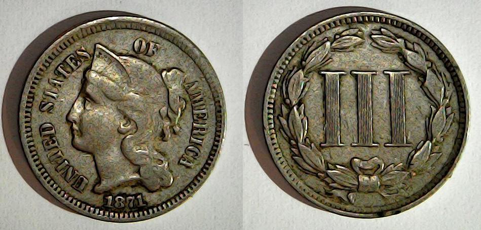 3 cents 1871 États-Unis