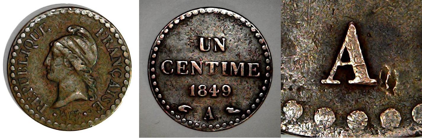 1 centime 1849 A France