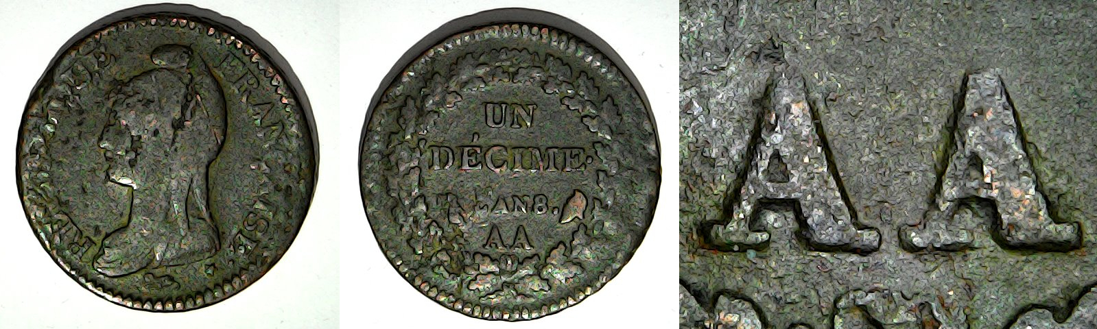1 décime An 8 AA France