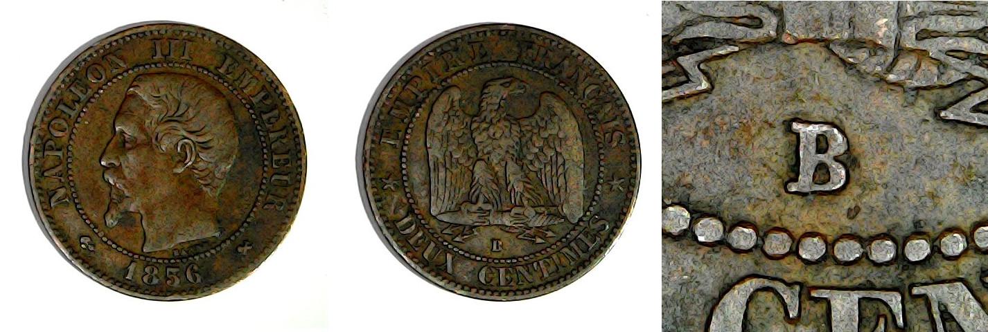2 centimes 1856 B France