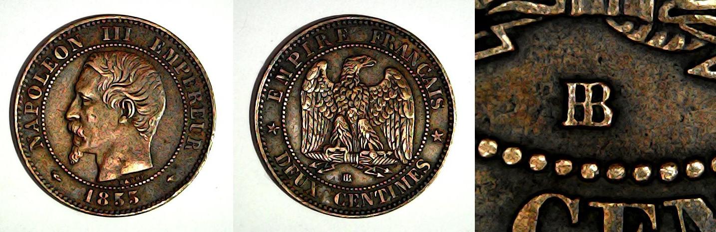 2 centimes 1855 BB France