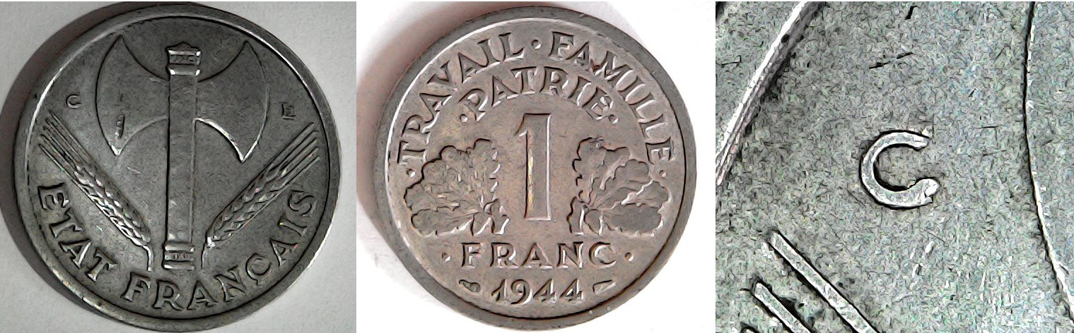 1 franc 1944 C France (État français)