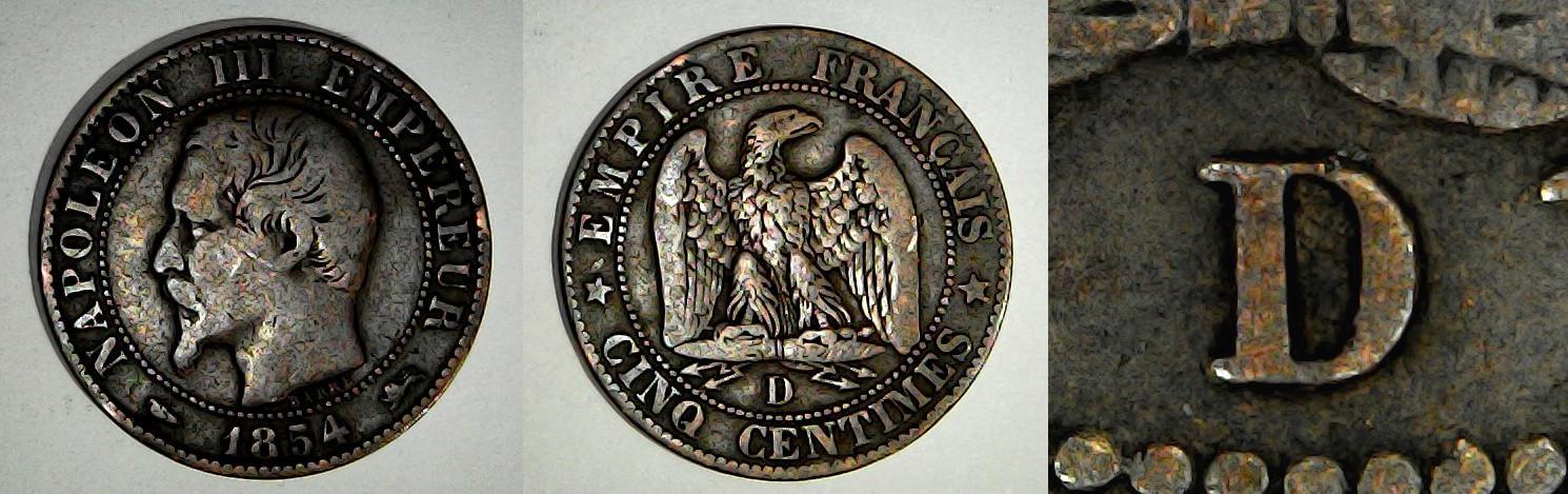 5 centimes 1854 D France