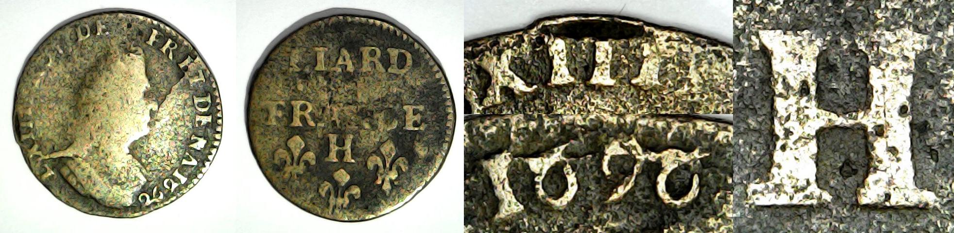 1 liard de France 1696 H France