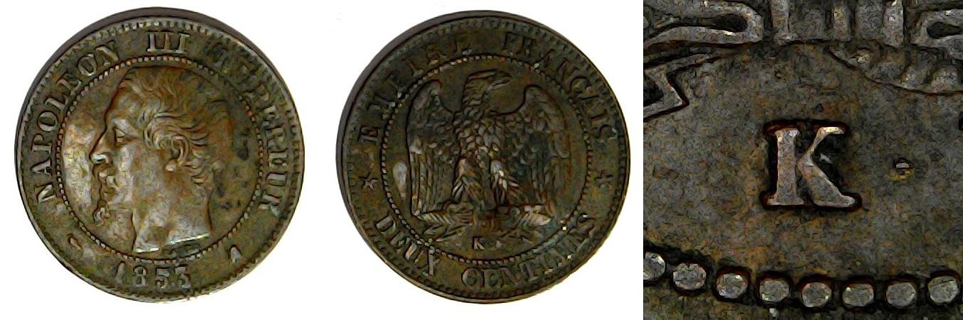 2 centimes 1853 K France