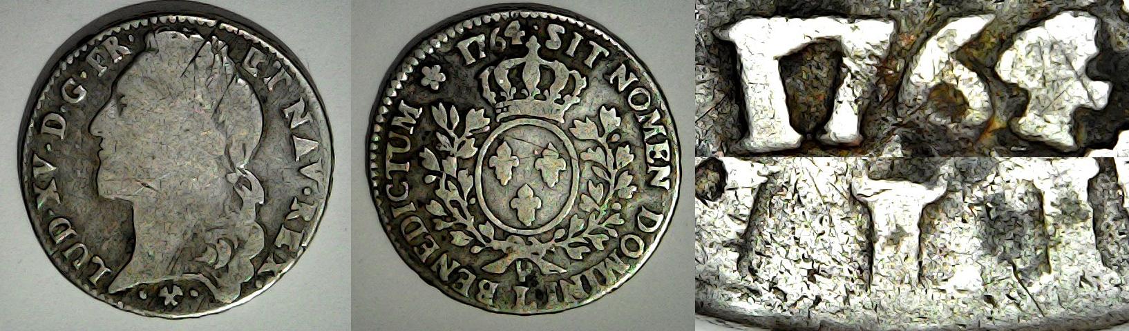 3 livres tournois 1764 L France