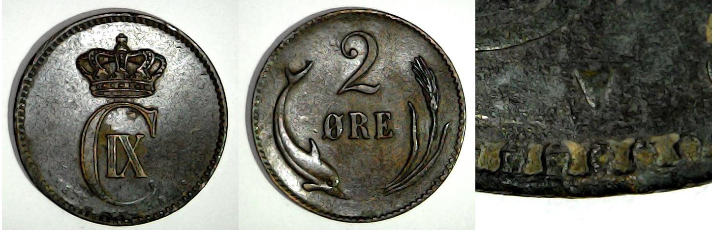 2 øre 1875 Danemark