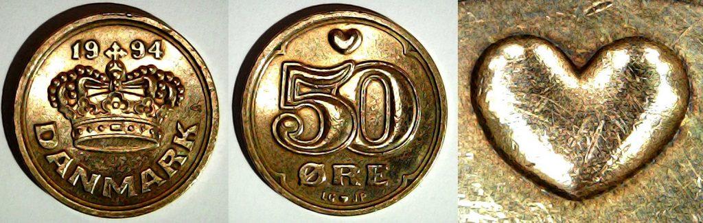 50 øre 1994 Danemark