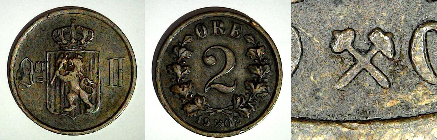 2 øre 1902 Norvège