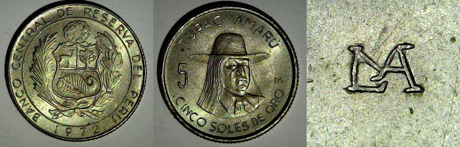 5 soles de oro 1972 Pérou