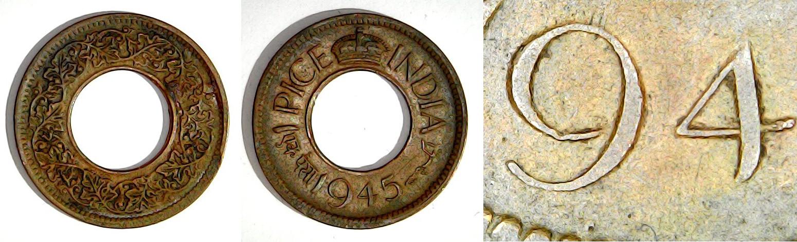 1 pice 1945 Calcutta Inde