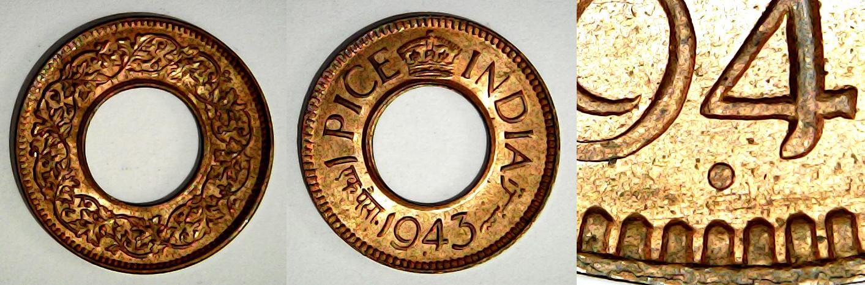 1 pice 1943 Pretoria Inde