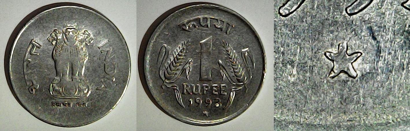 1 Rupee 1993 Hyderabad Inde