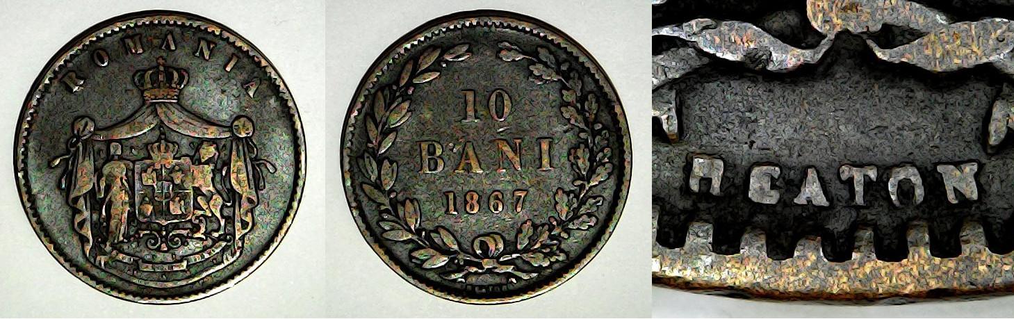 10 bani 1867 Heaton Roumanie