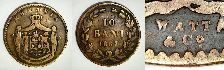 10 bani 1867 Watt & Co Roumanie