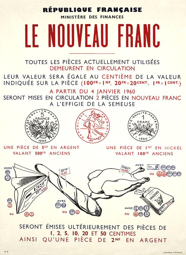 Ancien Franc, Franc et Nouveau Franc
