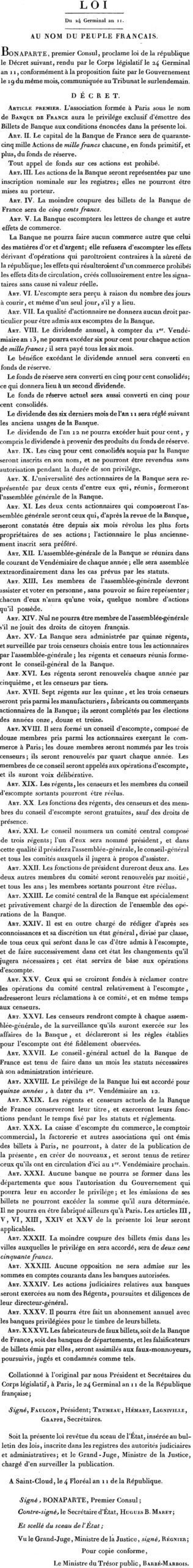 Loi du 24 Germinal AN XI