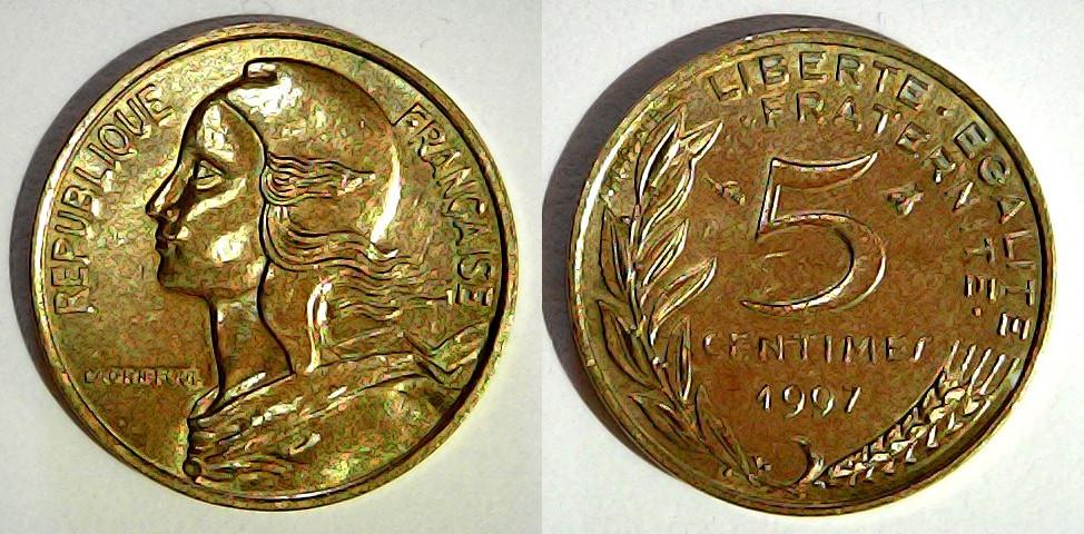 5 centimes France 1997 Abeille proche du R
