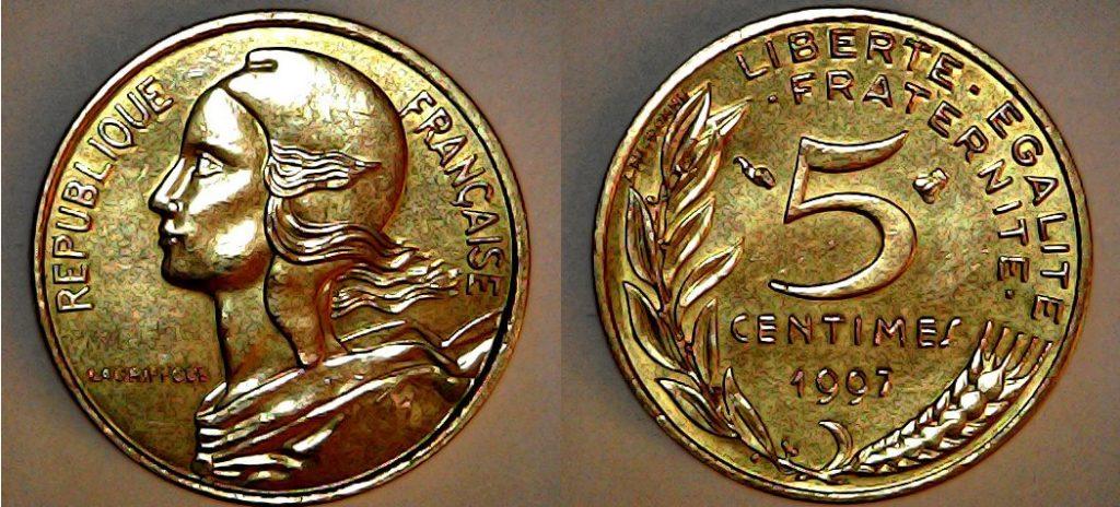 5 centimes France 1997 Abeille proche du 5