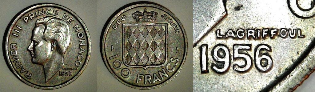 100 francs Monaco 1956