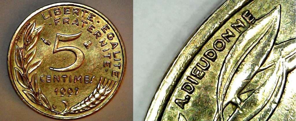 5 centimes France 1997 revers et Dieudonné