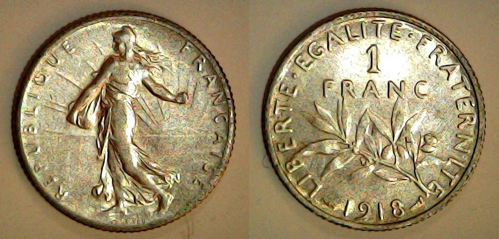 1 franc France 1918