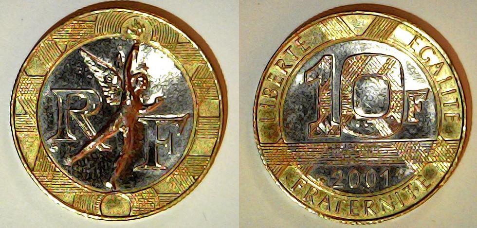 10 Francs France 2001