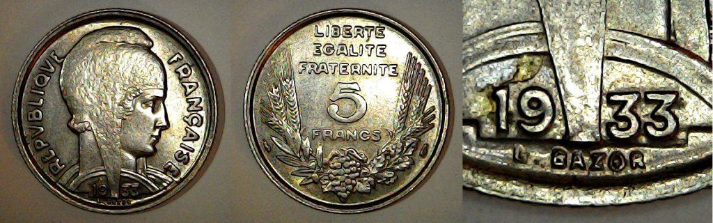 5 francs France 1933