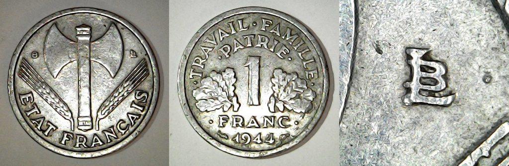 1 franc France 1944 B (État Français)