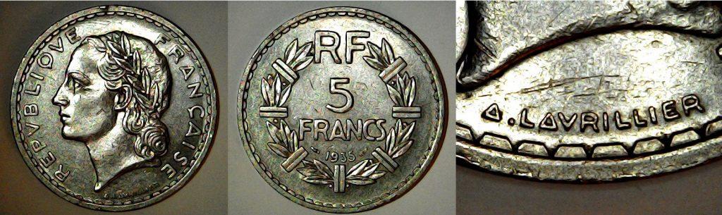 5 francs France 1935