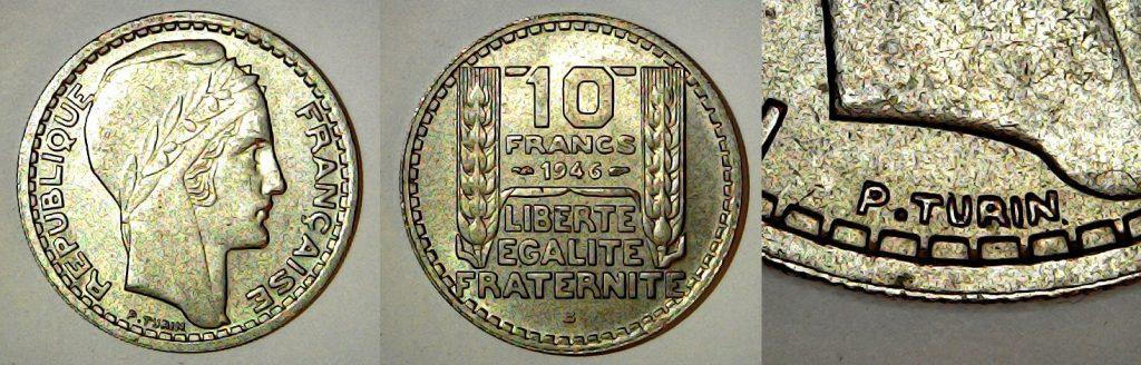 10 francs France 1946 Rameaux courts