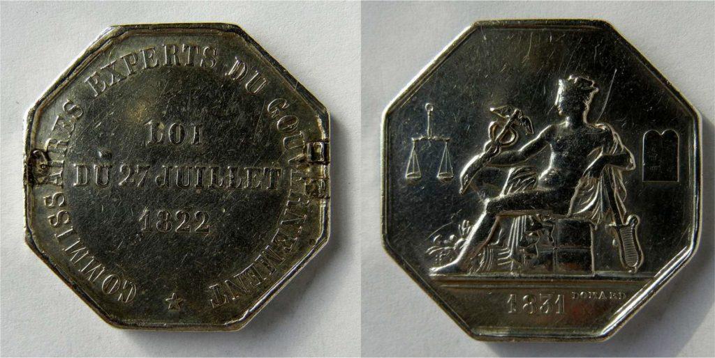 Médaille des Commissaires Experts du Gouvernement 1831 Domard