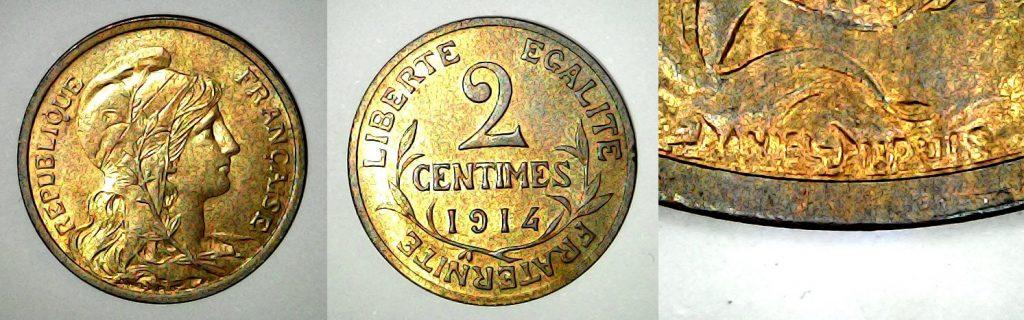 2 centimes France 1914